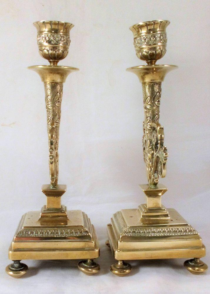 Pair of Ornate French Brass Candlesticks Empire Style Antique 19th Century