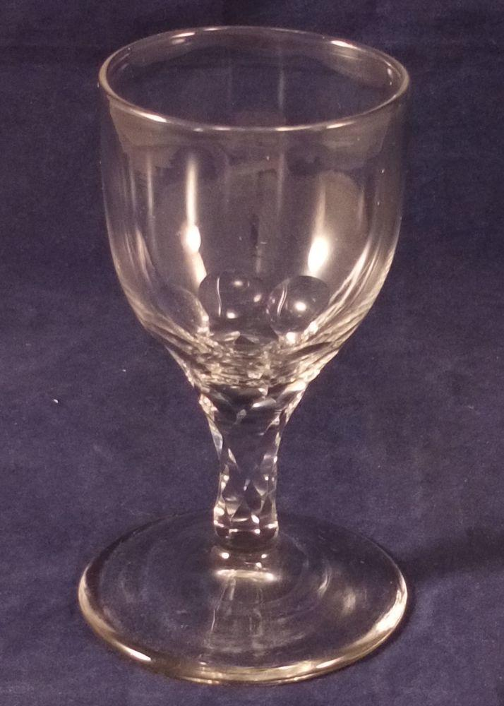 Georgian English Lead Glass Faceted Stem Wine Glass Antique circa 1800