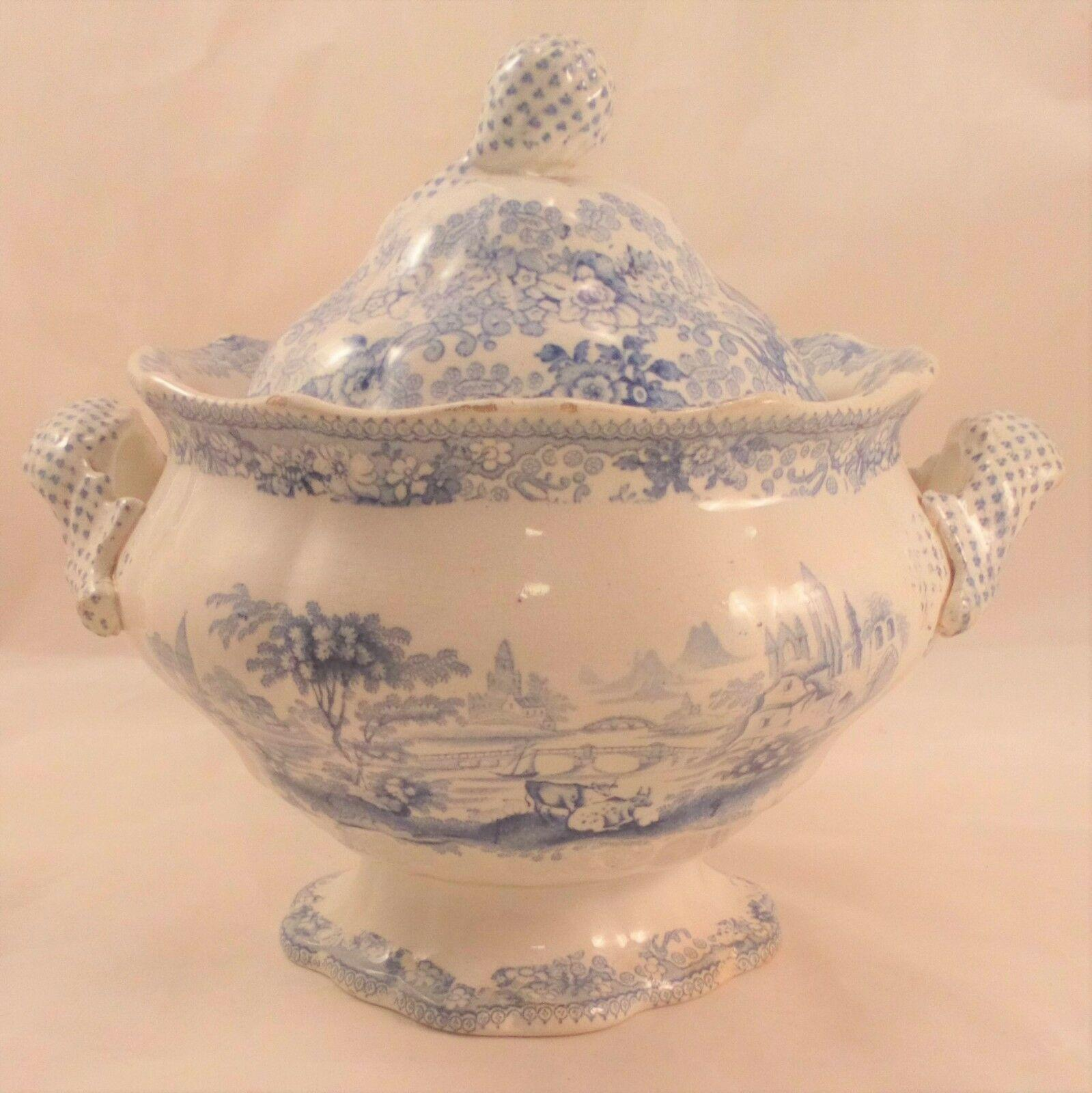 Antique Blue and White Transferware Sauce Tureen River Landscape circa 1850