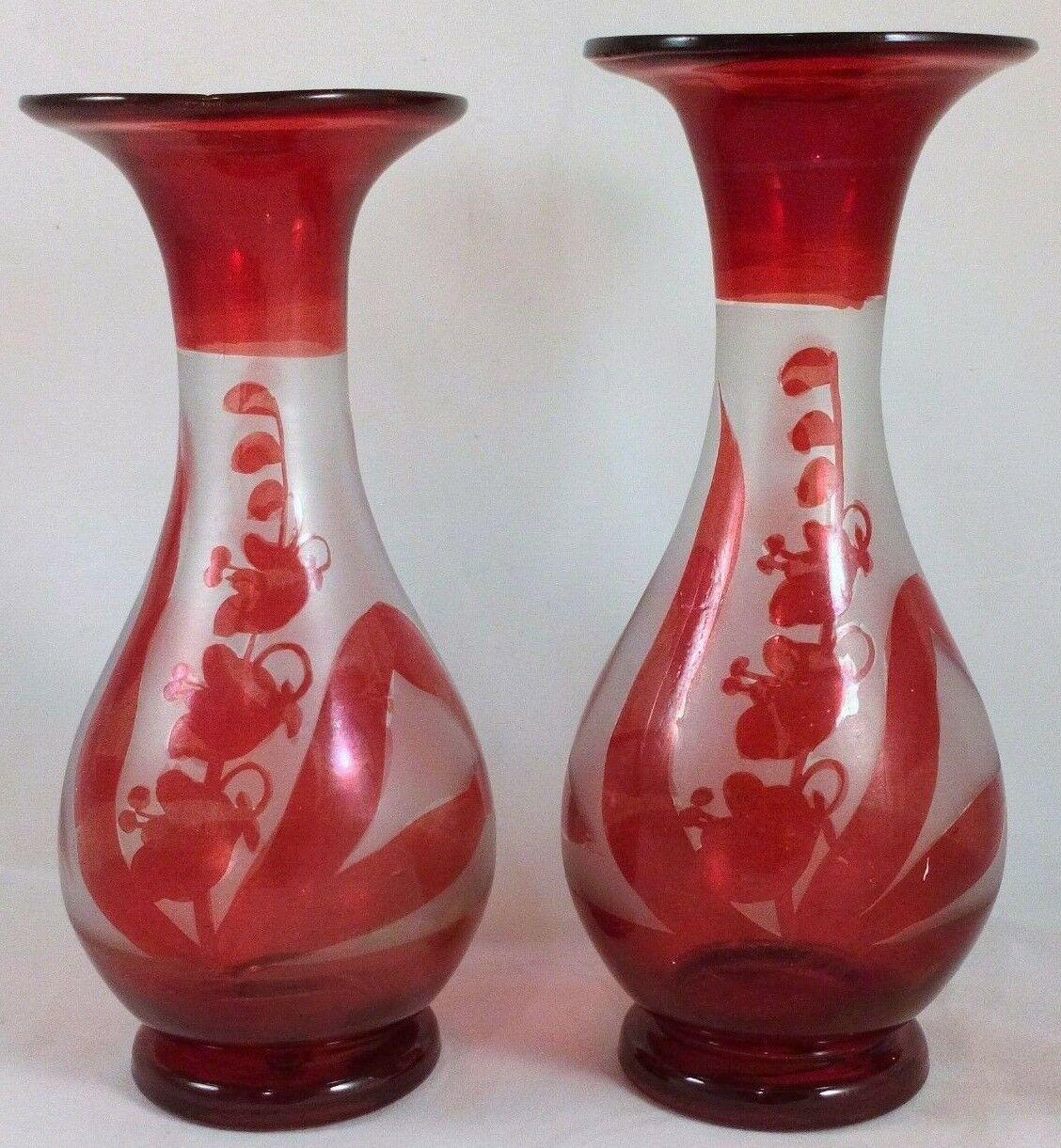 Bohemian Ruby Flashed Glass Pair Vases Lily of The Valley Design Antique c 1880