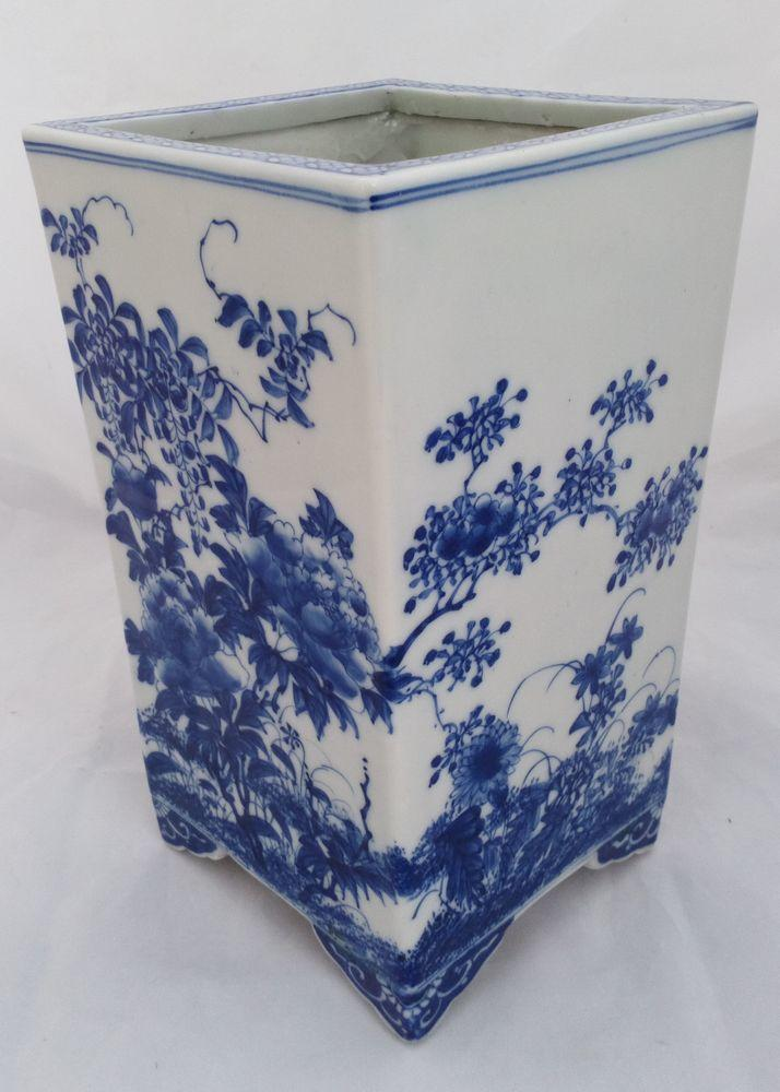 Antique Japanese Seto Porcelain Square Planter Jardiniere Meiji c 1890