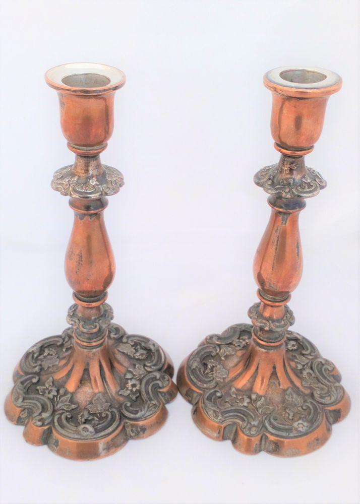 Silver Plated Pair Candlesticks Old Sheffield Plate 9 inches Antique c 1830