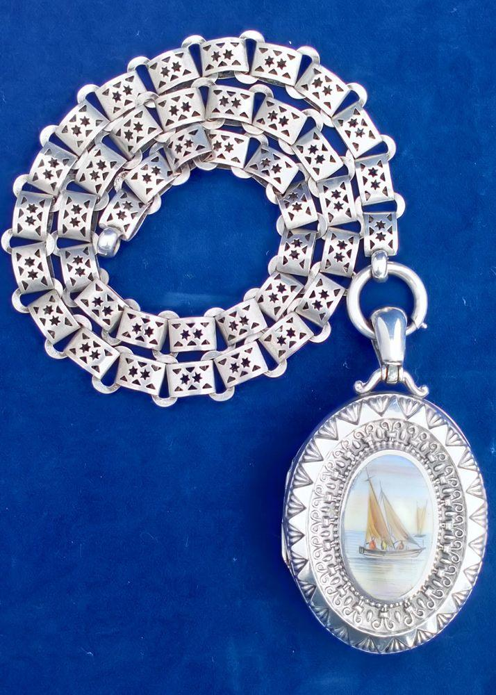 Antique Large Silver Enamelled Locket Sailing Yacht with Book Chain HM 1908-09