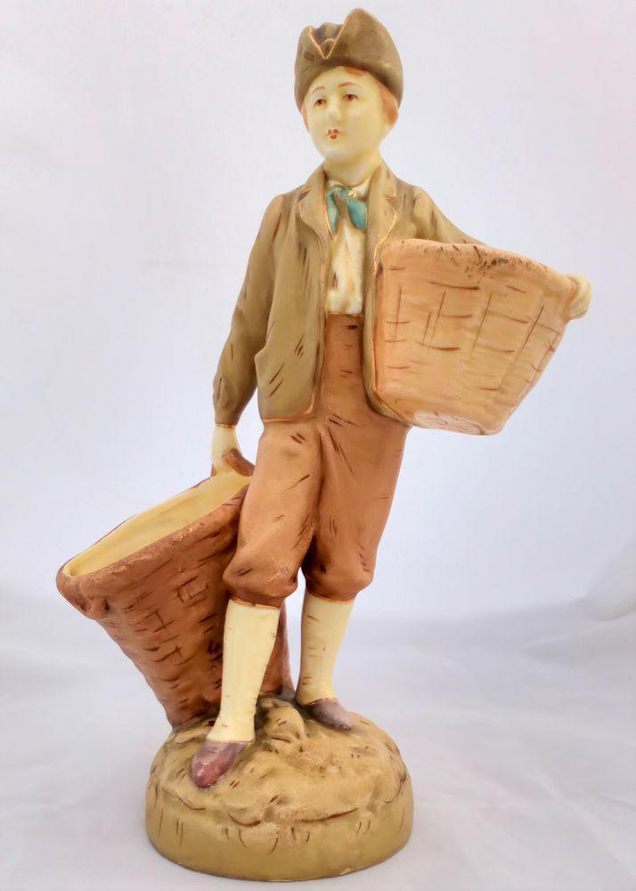 Blush Ivory Earthenware Figurine Boy with Baskets Royal Dux Style Antique c 1900