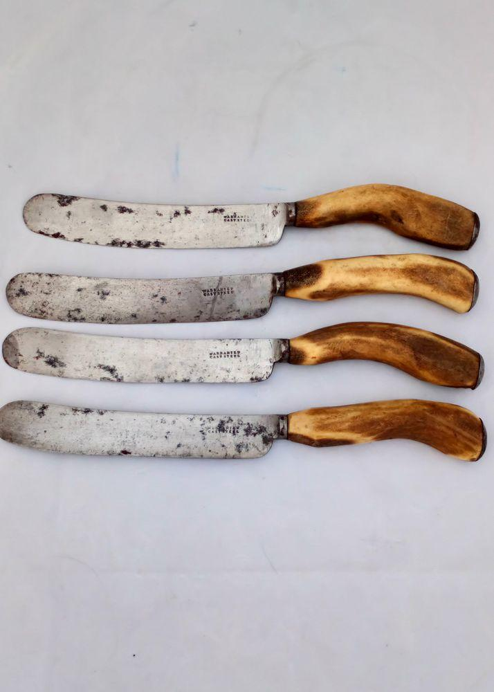 Set of Four Stag Horn Handled Cast Steel Knives Antique Cutlery c 1860