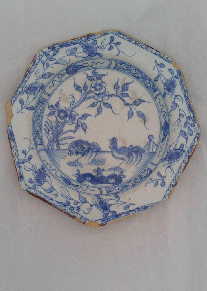 Liverpool Tin Glazed Earthenware Octagonal Plate Cockerels Chinoiserie C 1750