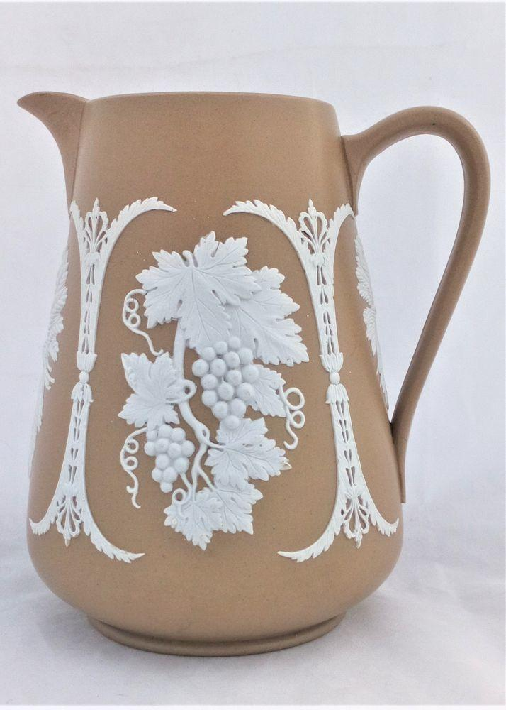 Dudson Sprigged Ale Jug with Hops Barley Grapevine Pattern Victorian c 1860