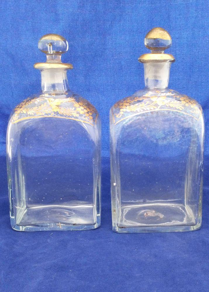 Pair Georgian Dutch Style Glass Spirit Decanter Antique c 1800 Gilded Grapevines