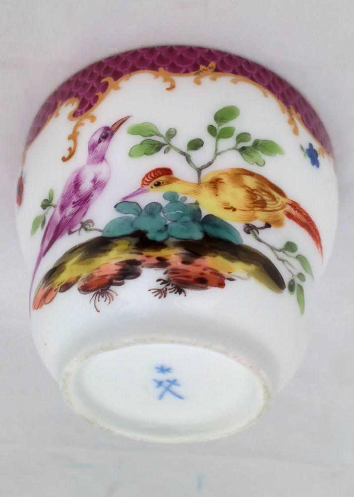 Antique Marcolini Period Meissen Porcelain Lidded Chocolate Cup c 1785
