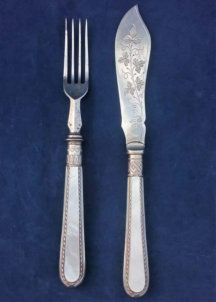 Harrison Brothers and Howson Silver Plate Fish Knife and Fork Patent Inset MOP Handles
