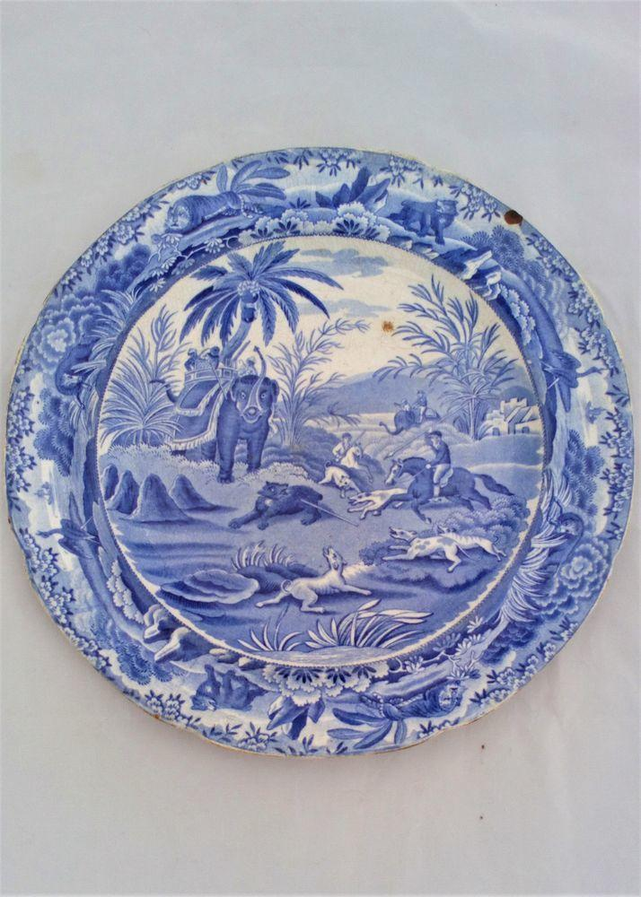 Spode Indian Sporting Series Pattern Death of the Bear Blue and White Pearlware Plate circa 1820