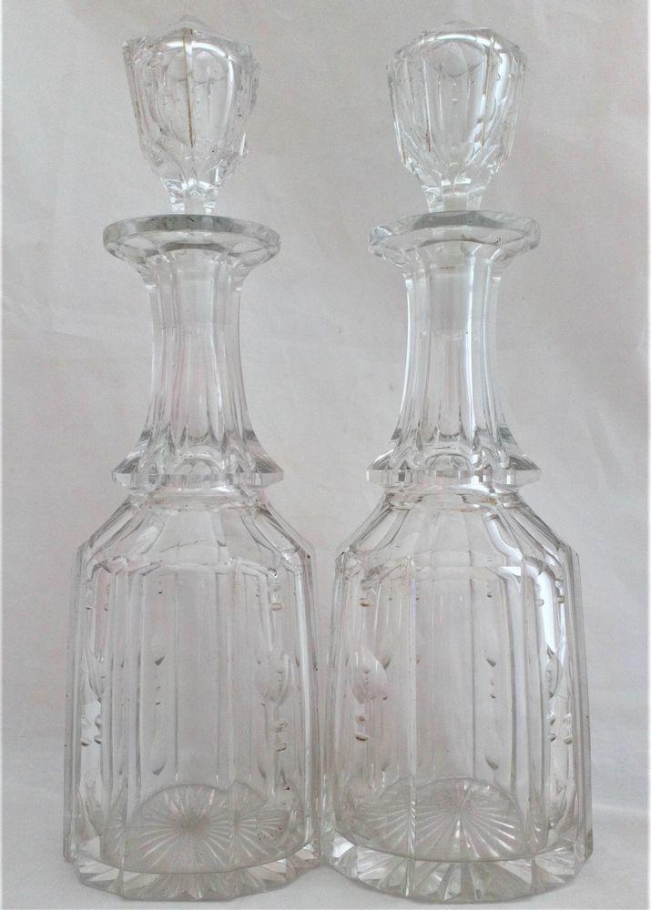 Pair Cut Glass Decanters Octagonal Mallet Shape William IV Antique c 1835