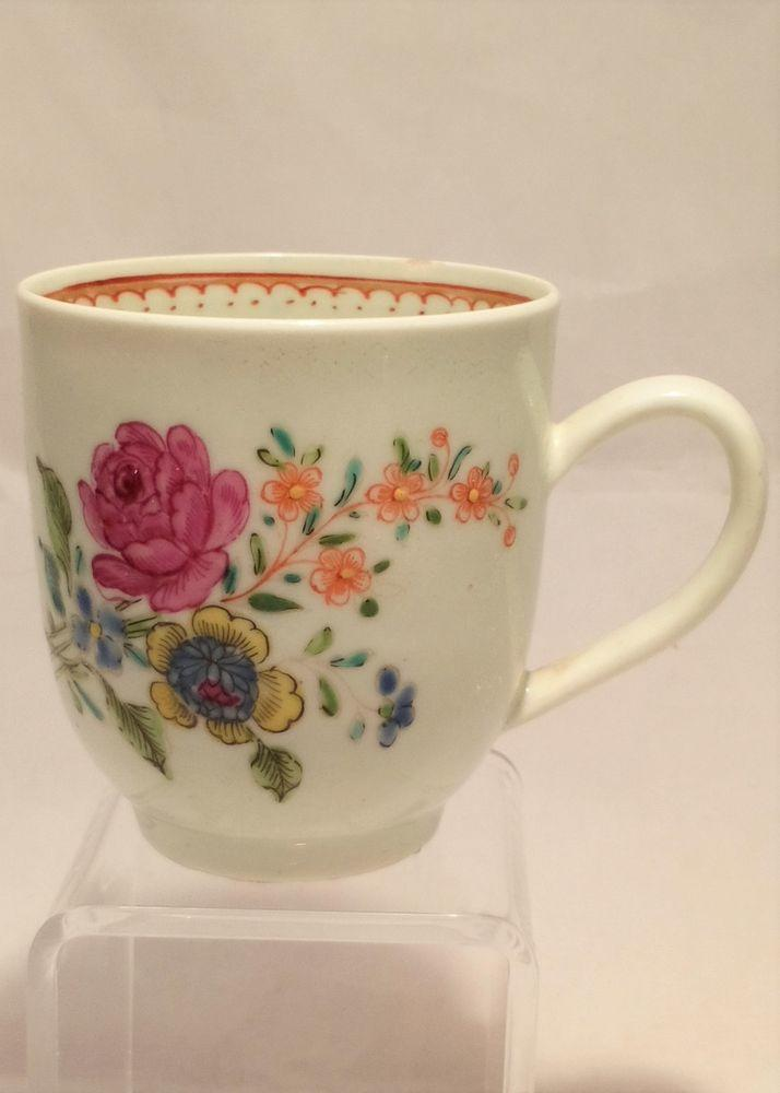 Liverpool Porcelain Coffee Cup Floral Spray Pattern Antique c 1760 Richard Chaffers