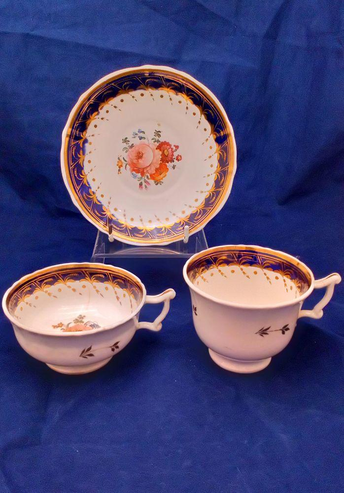 Samuel Alcock Porcelain Trio Painted Flowers Cups & Saucer Antique 1835 6