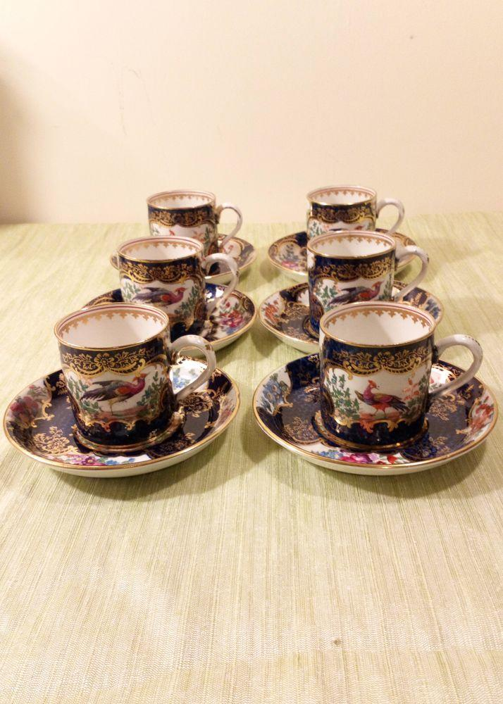 Set of Six Booths Silicon China Coffee Cans Blue Scale Ground Exotic Birds Pattern c 1900