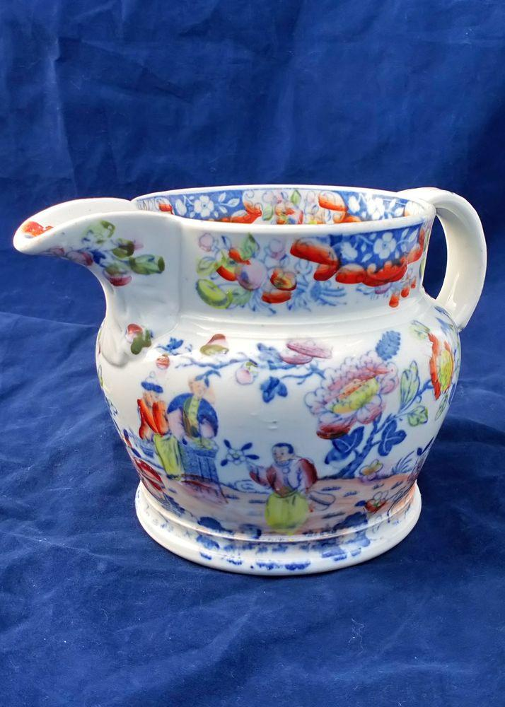Antique Porcelain Jug Transfer Printed Chinoiserie Pattern Marked with Unusual Porcelain scroll circa 1825