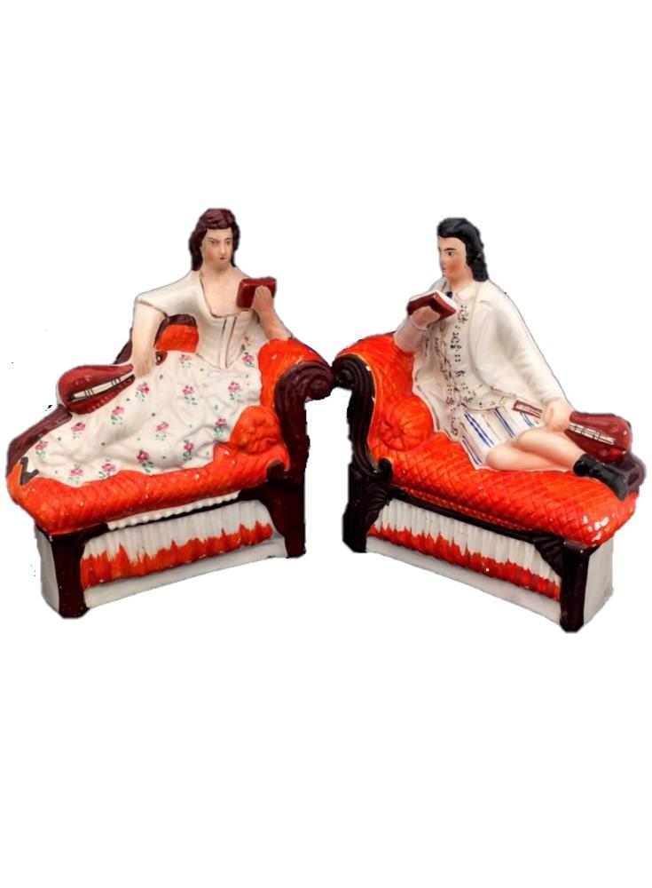 Pair Antique Victorian Staffordshire Pottery Flatback Figurines of a Male and Female Musician Recumbent on Chaise Longue or Sofas circa 1880
