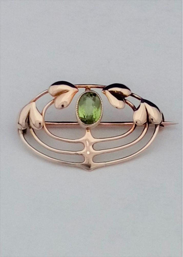 Antique Murrle Bennett 9ct Gold Peridot Brooch Arts and Crafts Archibald Knox circa 1900