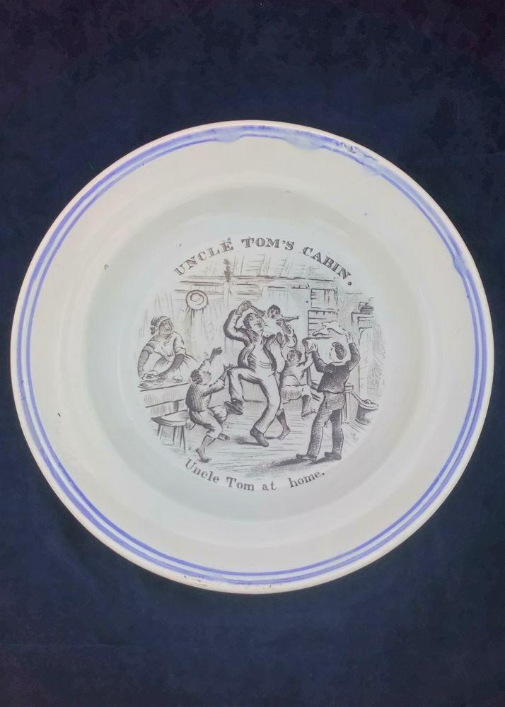 Antique Transferware pearlware Plate based upon the  Anti Slavery Novel Uncle Tom's Cabin by Harriet Beecher Stowe with a black printed pattern Uncle Tom at Home by George Cruikshank circa 1855 Print