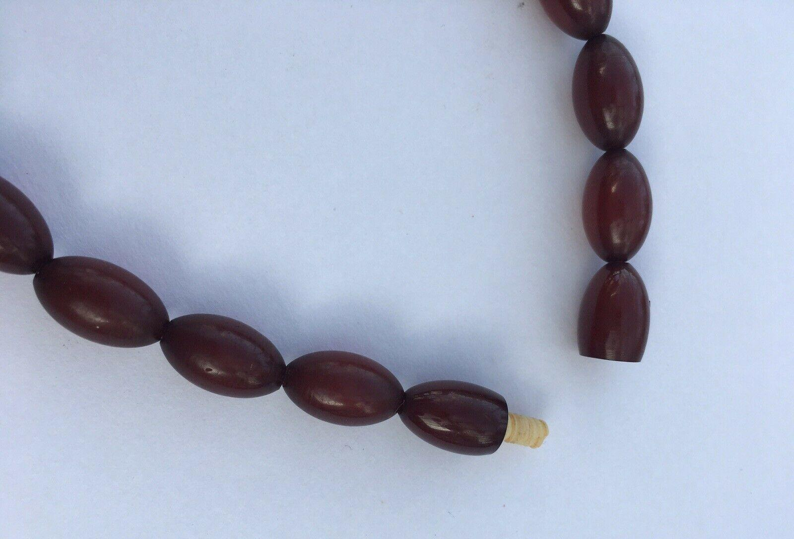 Antique Cherry Amber Bakelite Marbled Beads 39 Inch Necklace 84g Art Deco