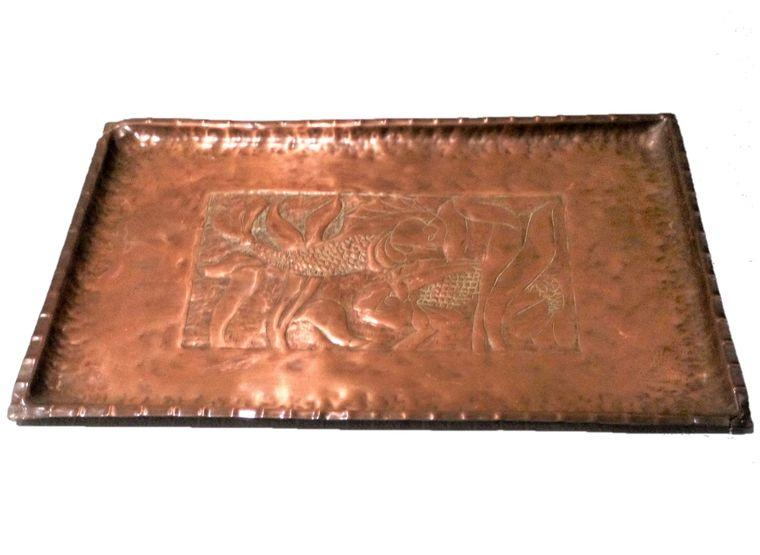 Antique Arts and Crafts Newlyn school rectangular copper tray chased Gurnard fish and kelp seaweed decoration circa 1900 18 x 12 inches