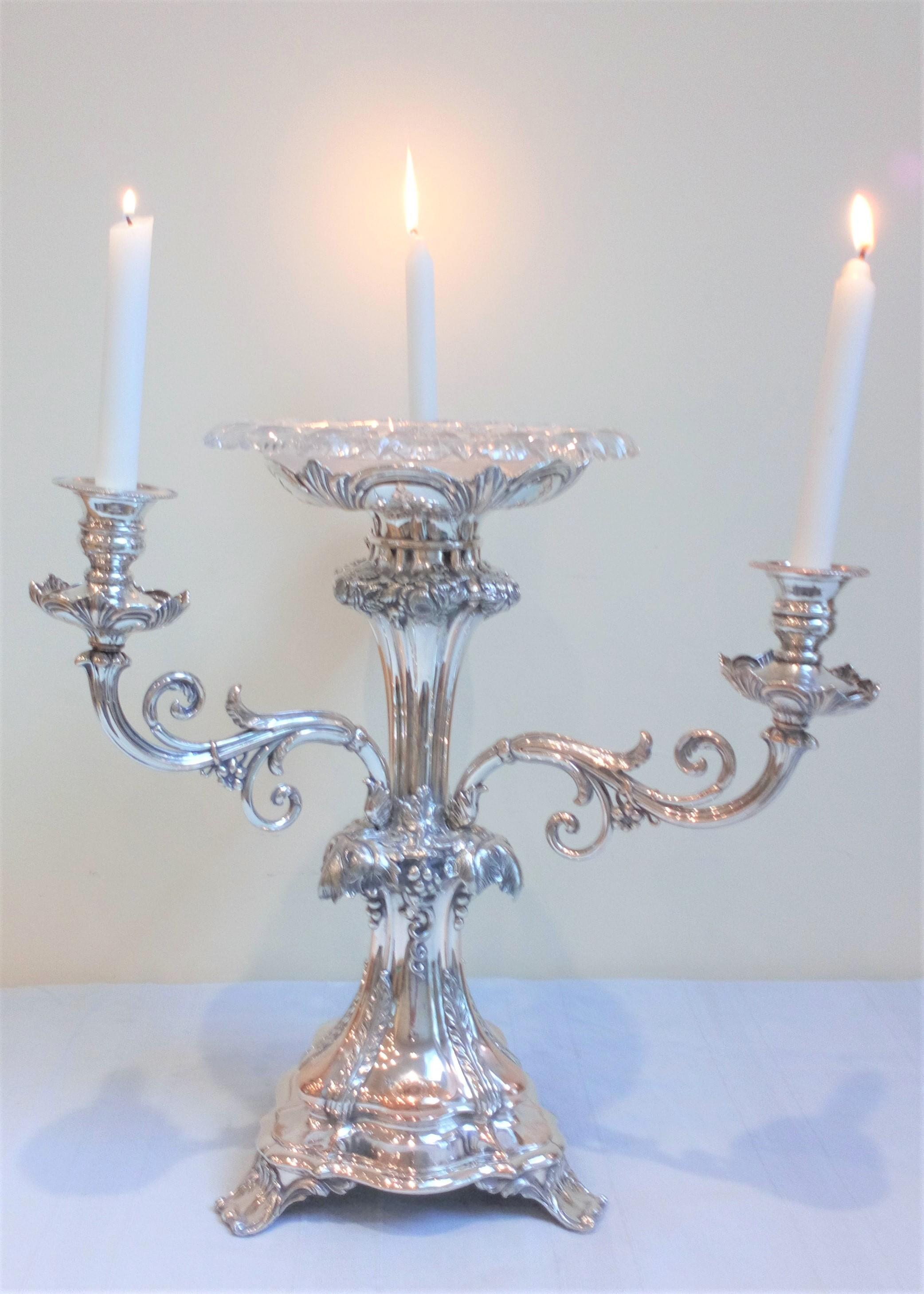 Large antique Victorian silver plated on copper centrepiece with cut glass turn over rim epergne and three branch arm candelabrum circa 1840