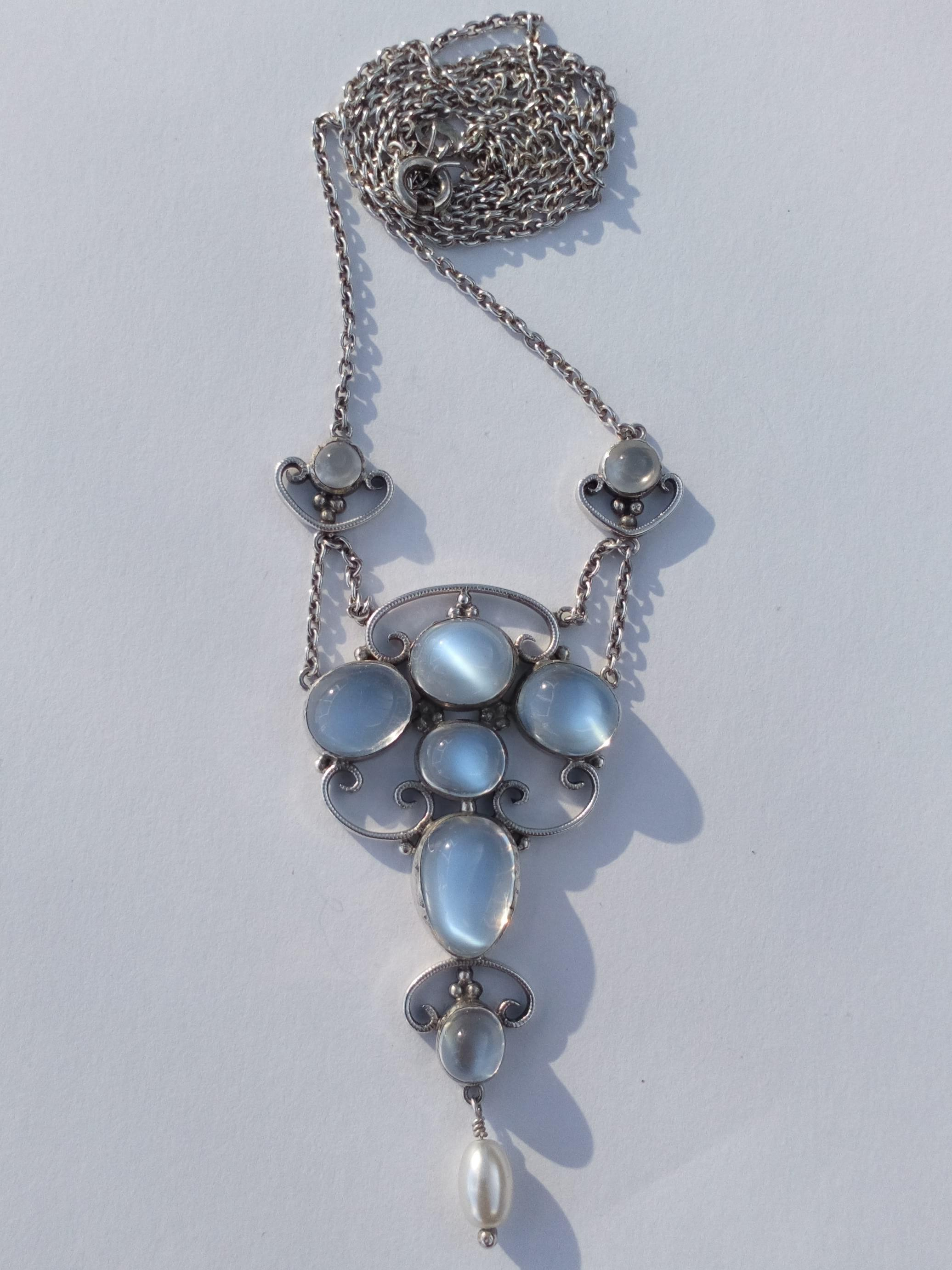 Antique Arts and Crafts Silver Moonstone Dropper Pendant Lavaliere Necklace circa 1910