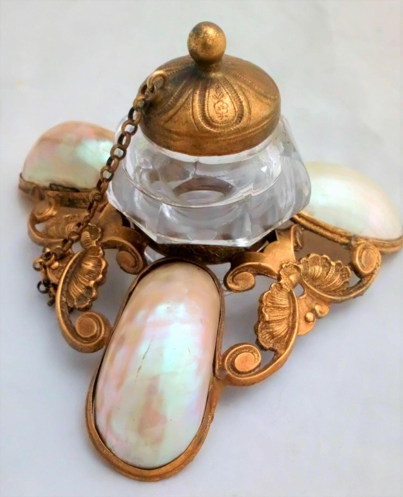 Antique French Palais Royal of Paris Mother of Pearl Shell and Ormolu stand with a Glass Ink well Grand Tour memento circa 1880