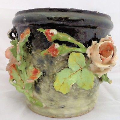 Antique Art Nouveau Barbotine Majolica Planter Jardiniere Jean-Marie Pointu 1880