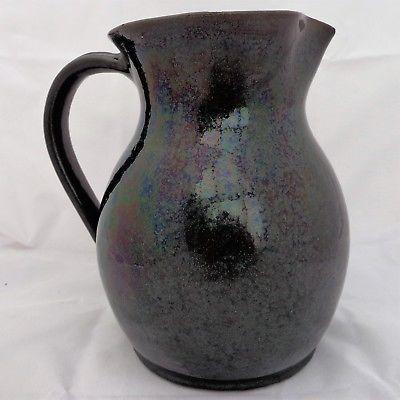 "Art Pottery Large Jug with Green Interior Farnham Pottery 8.5"" Antique c 1900"