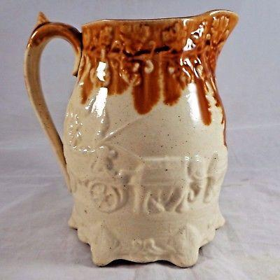Antique Leeds Jug Pitcher Victorian Elephant Camel Leathley Lane Pottery ca 1850