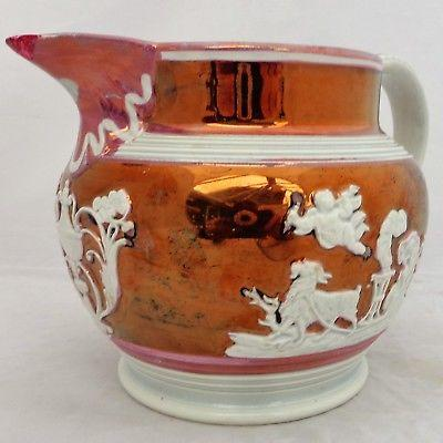 Antique Pink Lustre Sprigged Jug by John Shorthose or Enoch Wood c 1815 Regency