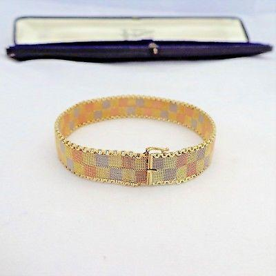 Art Deco 15ct Yellow, Rose Gold and Platinum Mesh Bracelet Ollivant & Botsford