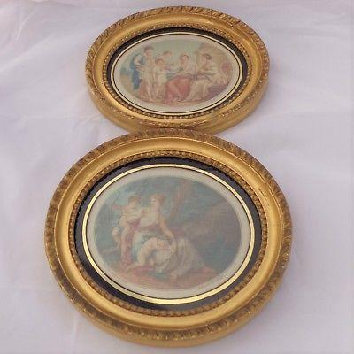Pair Antique Bartolozzi Prints 1783 Benjamin West & Angelica Kauffman Engraving