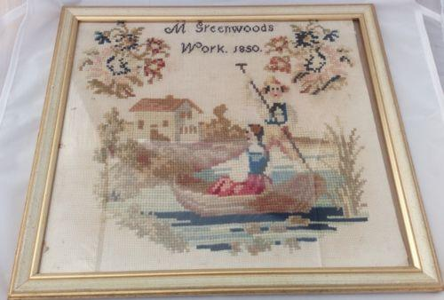 Antique Cross Stitch Sampler Embroidery Punting by Greenwoods Dated 1850 Framed