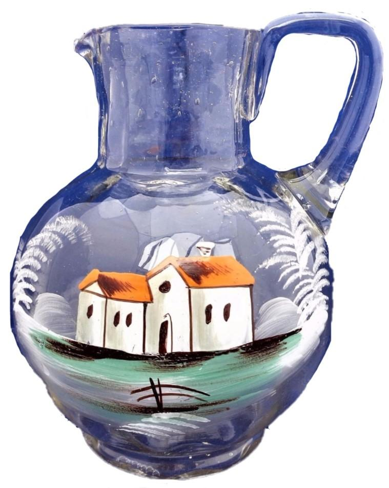 Antique Bohemian Glass Jug with Enamelled House Decor Mary Gregory Style c 1880