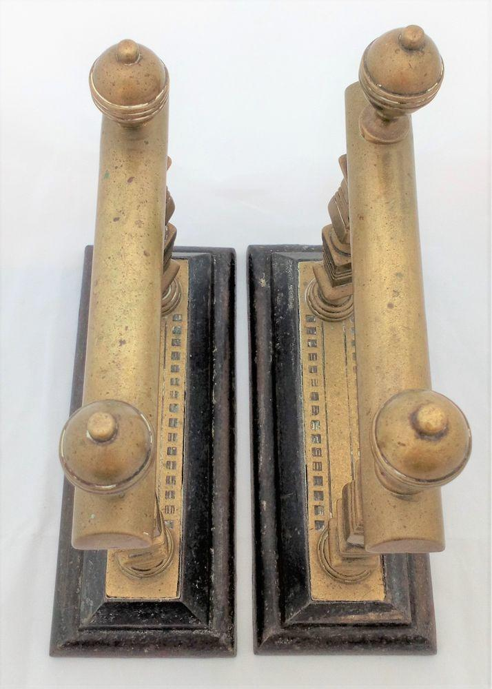 Victorian Brass and Cast Iron Fire Dogs Square Section Columns c 1890