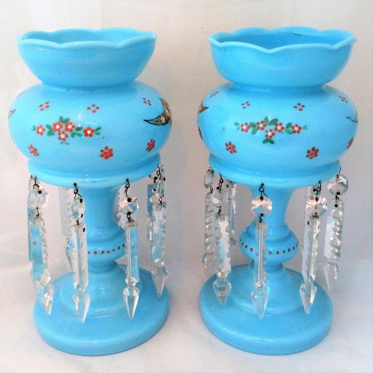 Pair of Blue Opaque Glass Mantle Lustre Vases Antique Victorian c 1870
