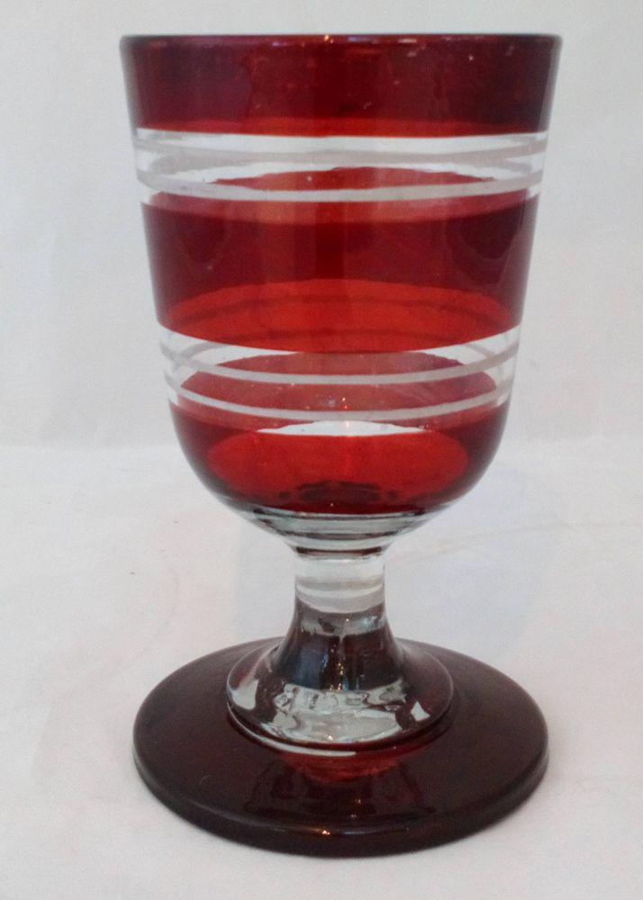 Ruby Flashed Rummer Ale Glass Engraved Bands 300ml Antique Victorian circa 1880