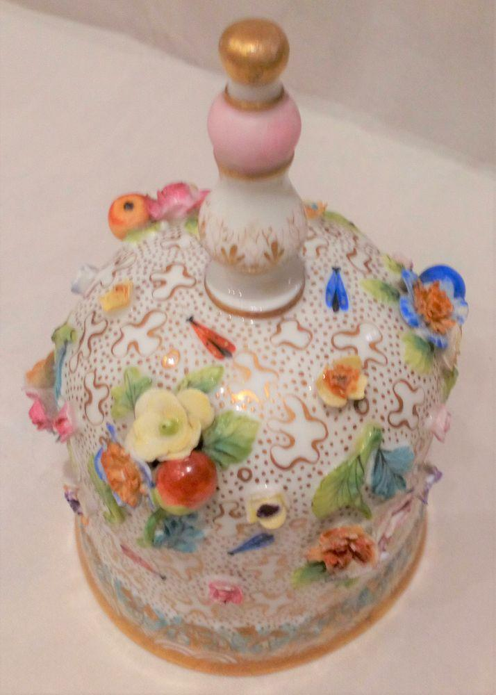 Antique Meissen Porcelain Table Bell Applied Flowers and Fruit