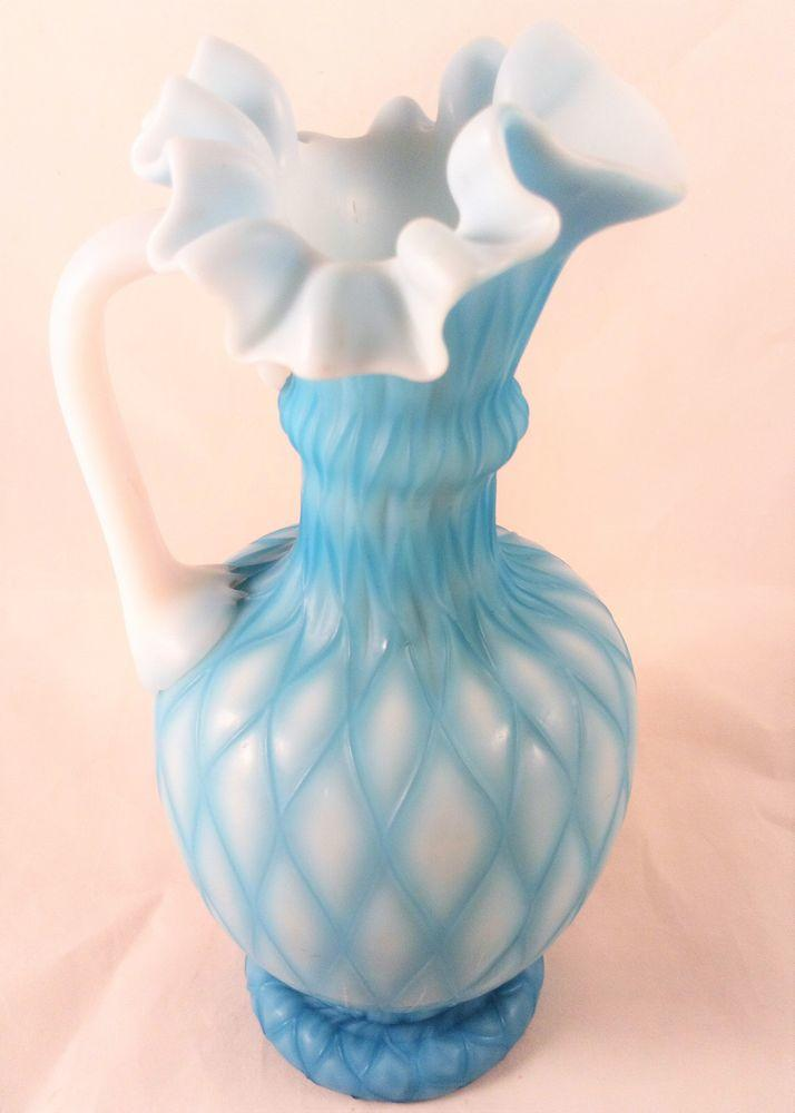 Richardsons Quilted Blue Pearl Satin Glass Jug Frilled Rim Antique c 1860.