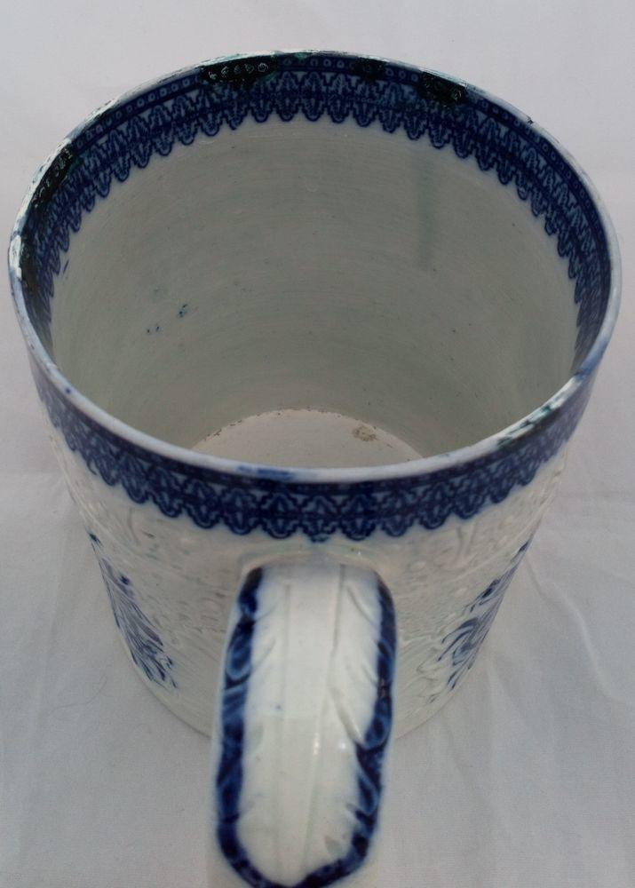 Swansea Pottery Blue and White Pearlware Transferware Cabbage Leaf  Mug ca 1795