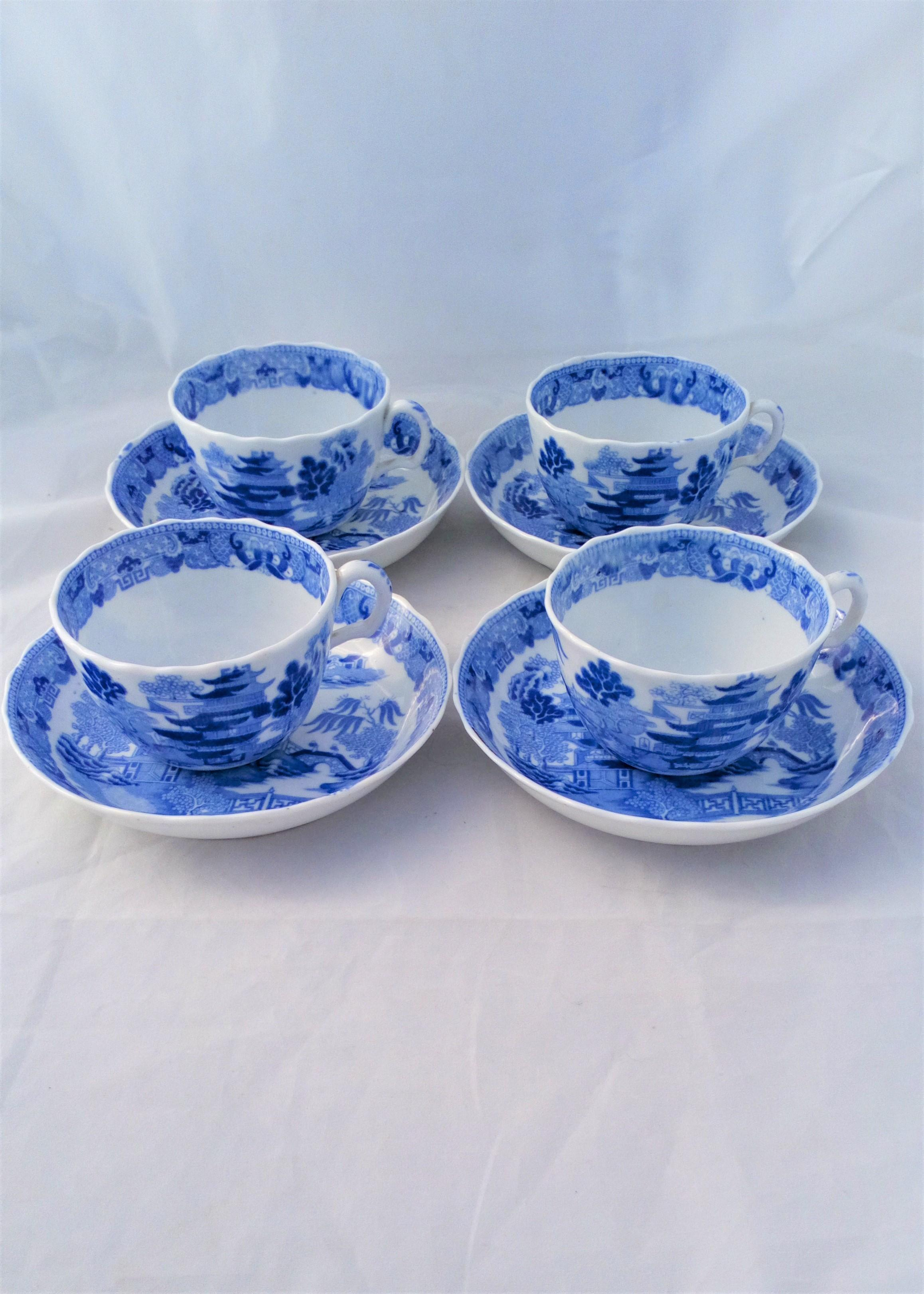 Miles Mason Porcelain Bute Cups Saucers Blue and White Broseley Pattern c 1810