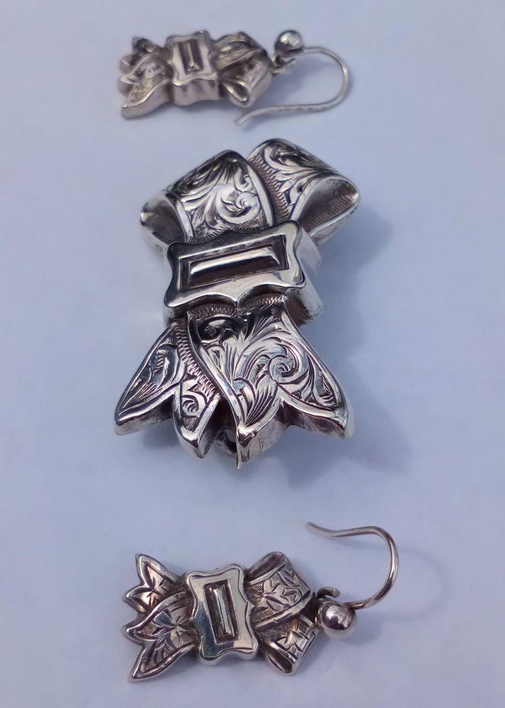 Antique Victorian Silver Demi Parure Set Bow Shape Brooch Drop and Earrings 1890
