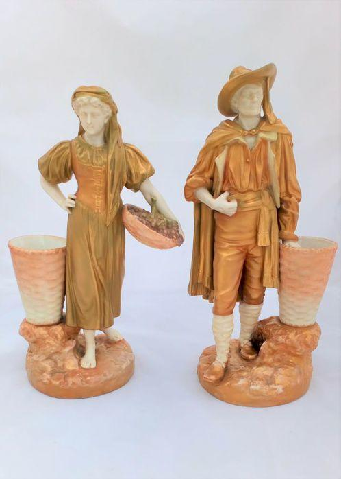 Royal Worcester Porcelain Pair Figurines Grape Harvesters Hadley Antique
