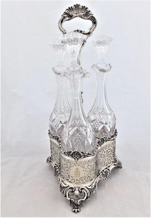Set of Three Cut Glass Decanters or Serving Bottles on Silver Plated Stand Victorian c 1860