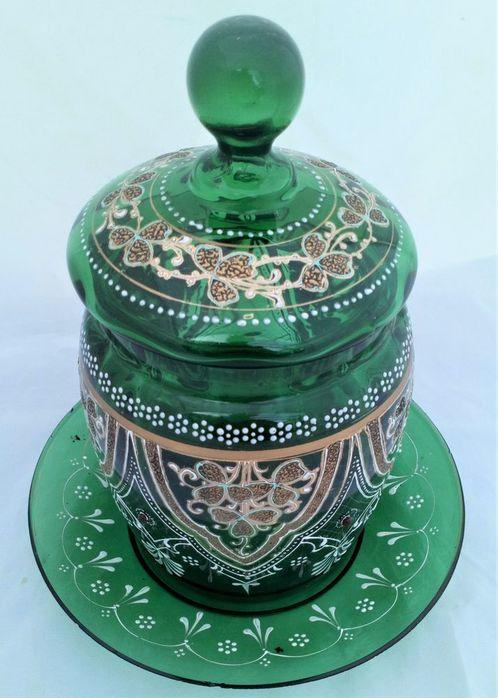 Green Glass Biscuit Barrel and Stand Enamelled Gilded Jewelled Antique Victorian c 1880