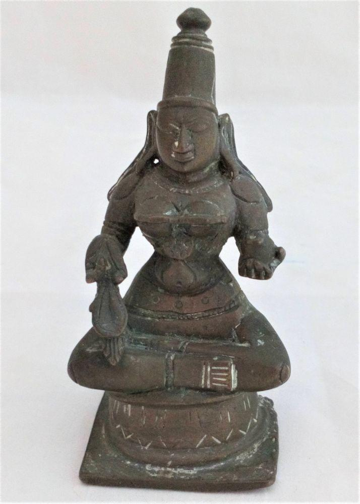 South Indian Bronze Figure of Seated Hindu Goddess Saraswati Antique 19th C