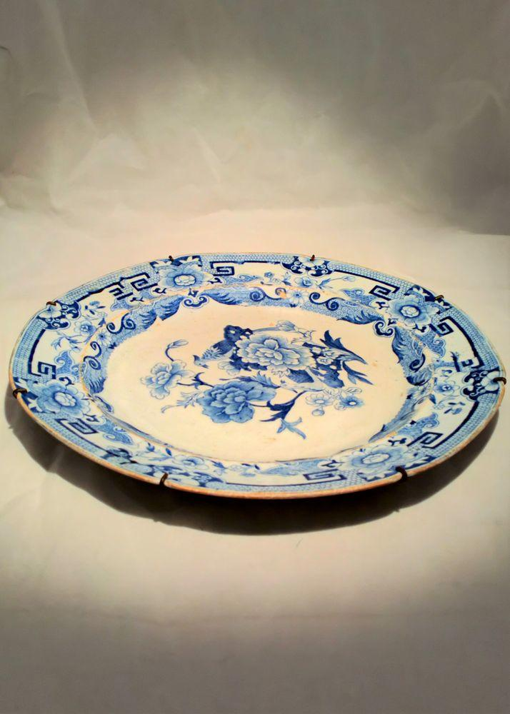 Masons Patent Ironstone Blue and White Dinner Plate Blue Pheasant pattern  circa 1820