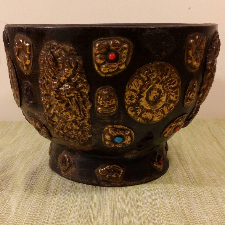 Antique Wooden Tsampa Bowl Tibetan Nepalese Brass Buddhistic Mounts c 1900